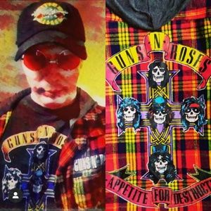 GNR 🔫 'S +🌹 🌹 'S men's adult hooded flannel XXL